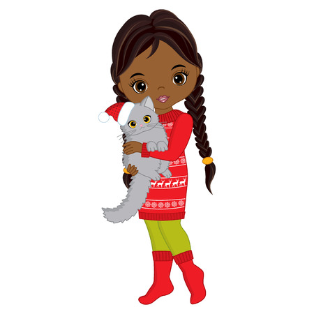 Vector cute little African American girl with cat. Vector Christmas girl. Vector little girl. Little African American with cat girl vector illustration