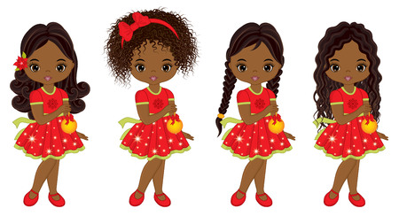 Vector cute little African American girls with Christmas balls. Vector African American girls with various hairstyles. Vector Christmas girls. Little African American girls vector illustration Çizim