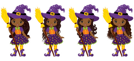 Vector cute little African American witches with broomsticks. Vector Halloween African American witches with various hairstyles. Vector witch. Halloween witches with broomsticks vector illustration