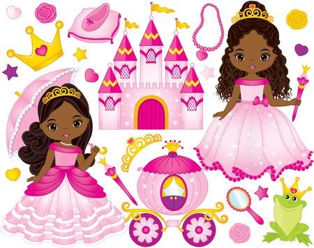 Vector set of beautiful African American princess, castle, carriage, frog, crown and accessories. Vector African American princess. African American princess vector illustration Illustration
