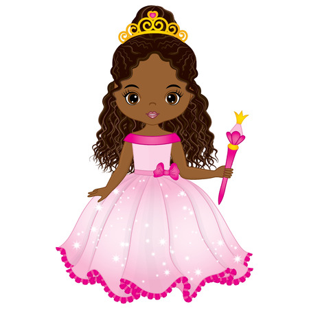 Vector beautiful African American princess in pink dress with magic wand. Vector cute little African American girl. African American princess vector illustration