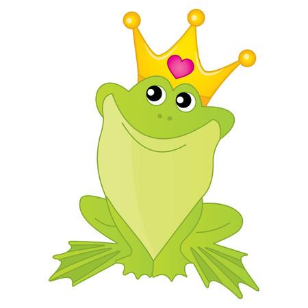 princess frog: Vector frog princess with golden crown. Frog princess vector illustration Illustration