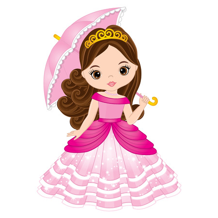 Vector beautiful princess in pink dress holding umbrella. Vector cute little girl. Princess vector illustration