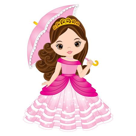 Vector beautiful princess in pink dress holding umbrella. Vector cute little girl. Princess vector illustration