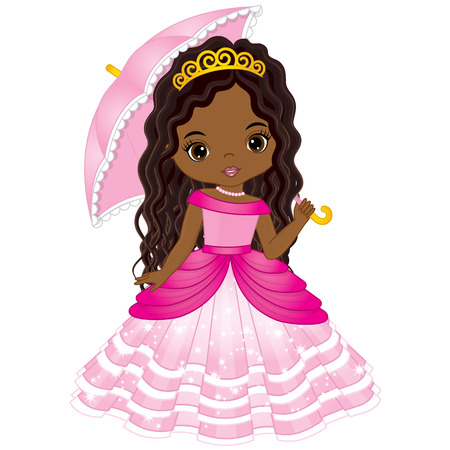 Vector beautiful African American princess in pink dress holding umbrella. Vector cute little African American girl. African American princess vector illustration