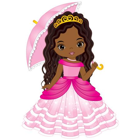 Vector beautiful African American princess in pink dress holding umbrella. Vector cute little African American girl. African American princess vector illustration