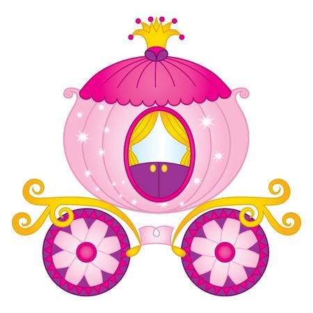 Vector cartoon princess carriage. Vector Cinderella pumpkin carriage. Princess carriage vector illustration