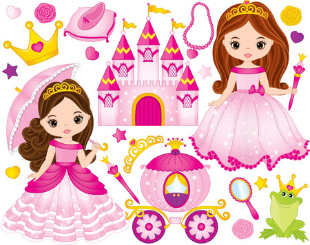 Vector set of beautiful princess, castle, carriage, frog, crown, shoe and accessories. Vector princess. Princess vector illustration Illustration