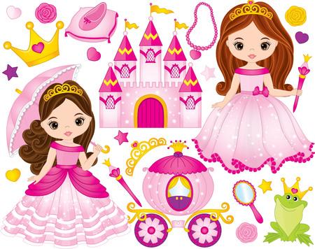 Vectorreeks van mooie prinses, kasteel, vervoer, kikker, kroon, schoen en toebehoren. Vector prinses. Prinses vectorillustratie