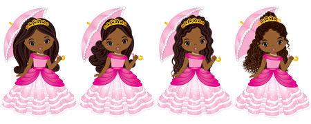 Vector beautiful African American princesses with various hairstyles. Vector Cinderella. Princess vector illustration