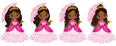 Vector mooie Afrikaanse Amerikaanse prinsessen met verschillende kapsels. Vector Assepoester. Prinses vectorillustratie