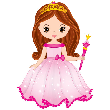 Vector beautiful princess in pink dress holding magic wand. Vector cute little girl. Princess vector illustration Illustration