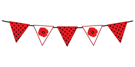 Vector bunting with poppy flowers and polka dot pattern. Vector bunting. Flags vector illustration