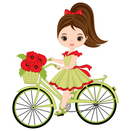 Vector cute little girl riding bicycle. Vector bicycle with basket of poppies. Vector little girl with poppies. Little girl with bicycle vector illustration