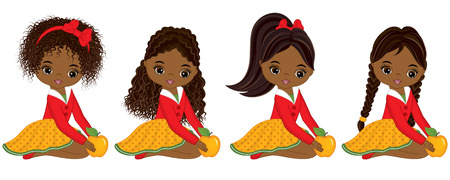 Vector cute little African American girls with yellow apples. Vector little girls with various hairstyles. Vector little girl. Little African American girls vector illustration