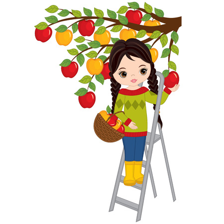 Vector cute little girl picking apples from tree.