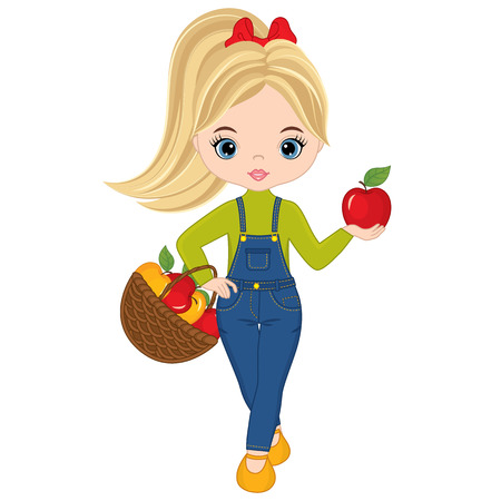 Vector cute little girl with basket of apples. Vector little girl. Little girl with apples vector illustration
