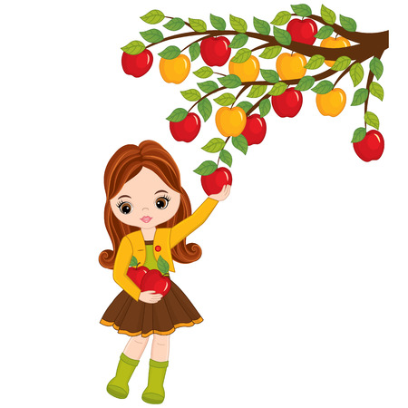 Vector cute little girl picking apples from tree. Vector little girl with apples. Vector little girl. Little girl with apples vector illustration Illustration