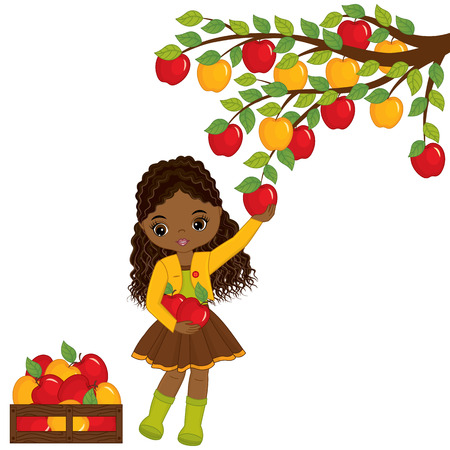 Vector cute little African American girl picking apples from tree. Vector little girl with apples. Vector little girl. Little African American girl with apples vector illustration