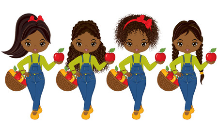 Vector cute little African American girls with baskets of apples. Vector little girls with various hairstyles. Vector little girl. Little girls with apples vector illustration Illustration