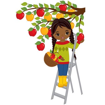 Vector cute little African American girl picking apples from tree. Vector little girl with basket of apples. Vector little girl. Little African American girl vector illustration Ilustrace