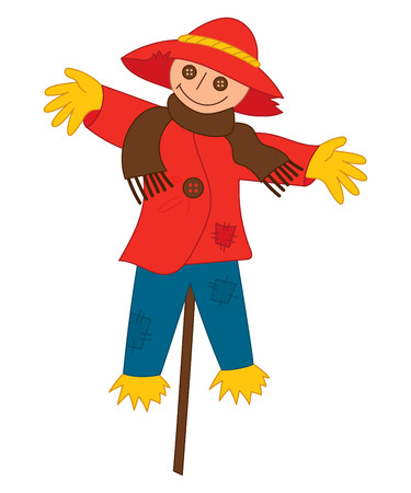 Vector cartoon funny scarecrow on stick. Vector scarecrow. Scarecrow vector illustration.