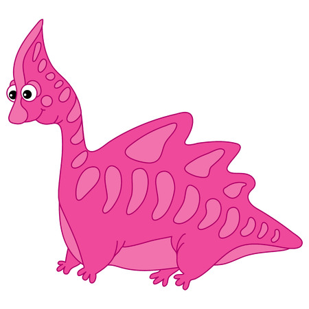 Vector cute cartoon pink dinosaur. Vector dino. Dinosaur vector illustration.