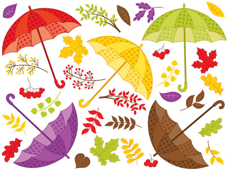 Vector autumn set with umbrellas, colorful leaves and berries. Vector fall. Autumn set with umbrellas and leaves vector illustration.