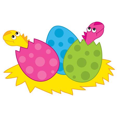 벡터 귀여운 만화 공룡 '아기 계란에서 부 화입니다. 벡터 아기 공룡 해칭. 공룡 아기 벡터 일러스트 레이 션.