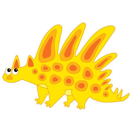 Vector cute cartoon dinosaur with spines. Vector dino. Dinosaur vector illustration. 일러스트