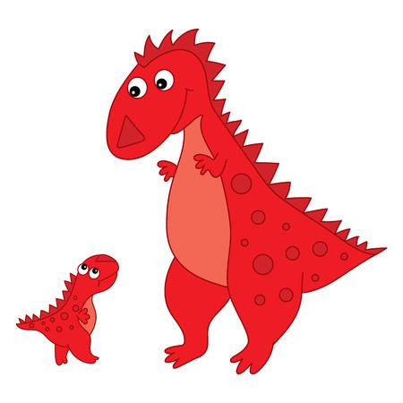 작은 아기와 함께 벡터 귀여운 만화 공룡입니다. 벡터 일러스트 레이 션. 공룡 벡터 일러스트 레이 션.