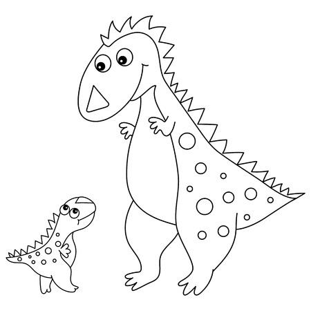 Vector black and white cute cartoon dinosaur with little baby. Vector dino. Dinosaurs vector illustration.