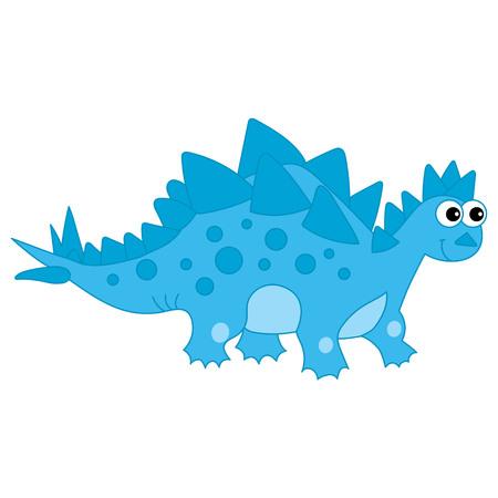 벡터 귀여운 만화 블루 공룡 등뼈입니다. 벡터 일러스트 레이 션. 공룡 벡터 일러스트 레이 션. 일러스트