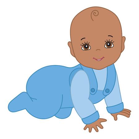 Strisciante sveglio del neonato dell'afroamericano di vettore. Vector baby boy. Illustrazione di vettore del neonato