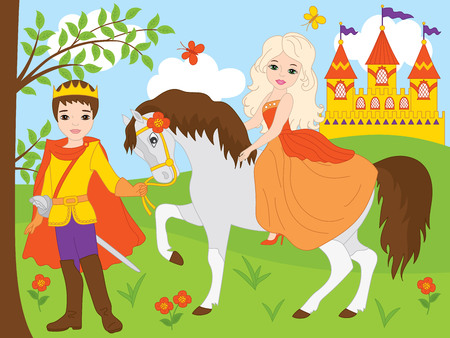 set with prince and beautiful princess, horse and castle.