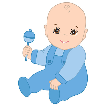Vector cute baby boy with rattle sitting. Illustration