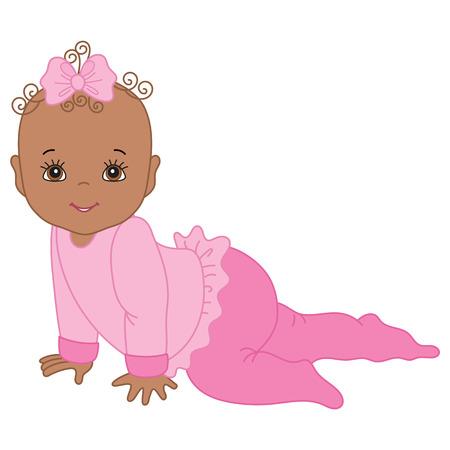 ベクトルのアフリカ系アメリカ人のかわいい女の子がクロールします。ベクトルの女の子.アフリカ系アメリカ人の赤ちゃんの女の子のベクトル図