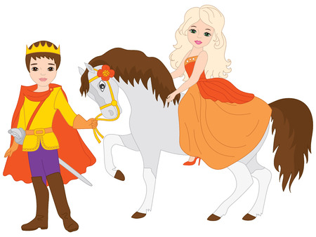 Vector prince and beautiful princess. Vector princess sitting on the horse. Prince and princess vector illustration