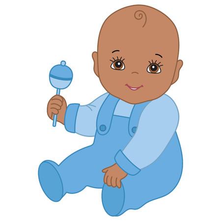 Vector schattige Afro-Amerikaanse babyjongen met rammelaar zitten. Afro-Amerikaanse babyjongen vectorillustratie Stock Illustratie