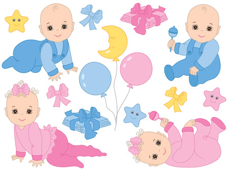 Vector set with cute baby boys, baby girls, bows, balloons, toys, stars and diapers. Vector baby shower. Baby shower vector illustration