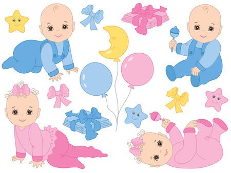 Vector conjunto con lindos bebés niños, niñas, arcos, globos, juguetes, estrellas y pañales. Vector baby shower. Ilustración de vector de ducha de bebé