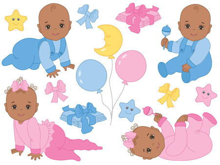 Vector set with cute African American baby boys, baby girls, bows, balloons, toys, stars and diapers. Vector baby shower. Vector African American baby. Baby shower vector illustration