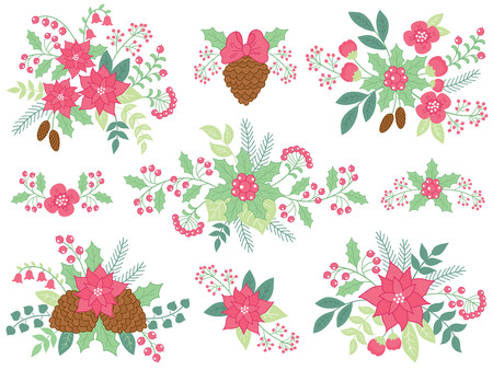 Vector Christmas floral bouquets with cones,     poinsettia, holly and berries