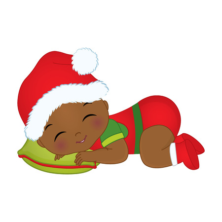 Vector cute little african american baby boy wearing christmas clothes.