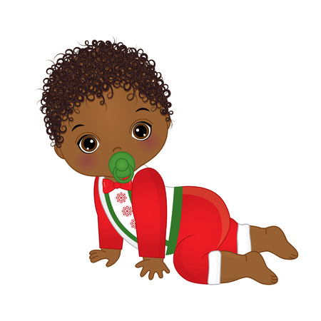 Vector illustration cute little african american baby boy wearing christmas clothes.