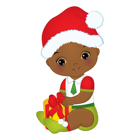 Vector cute little African American baby boy wearing Christmas clothes. Vector African American baby boy. Vector Christmas baby boy with gift box. African American baby boy vector illustration Illusztráció