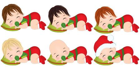 Vector illustration cute little baby boys wearing christmas clothes. Ilustração