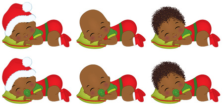 Vector cute little African American baby boys wearing Christmas clothes.