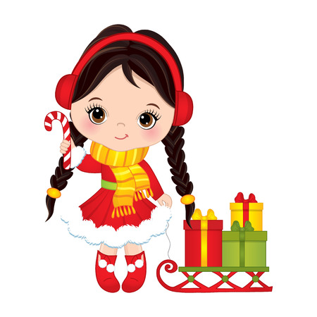 Cute little girl with candy stick sleigh and gift boxes.