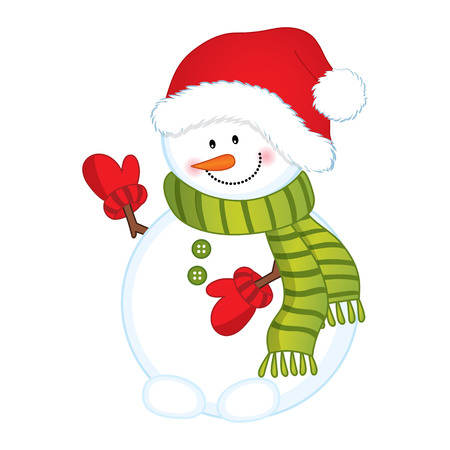 Cute snowman in red hat and green scarf.